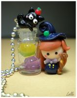 Fimo Witch and Cat by LolleBijoux