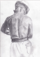 Charcoal Sketch of Picasso Working by ceramicpony