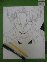 Future Trunks (lineart) by superheroarts