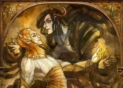 Seduction of Sauron-Mairon detail by BohemianWeasel