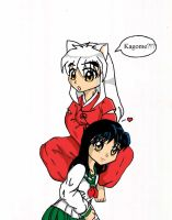 chibi inuyasha and kagome awww by Fred-Weasley