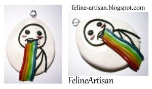 Puking Rainbow Meme Pendant by FelineArtisan