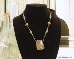 Necklace with Kambaba Jasper and Filigree Pendant by Cillana