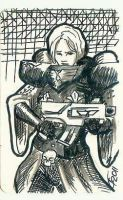 Sister of Battle Sketch Card by Meister-Goldfeder