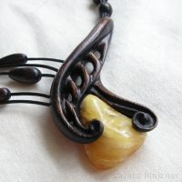 Amber and wood necklace 1317 by AmberSculpture
