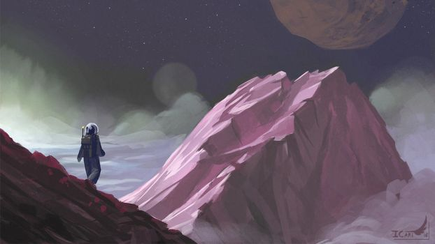 1h15 Speedpainting - Pink mountain by ICart-Paint