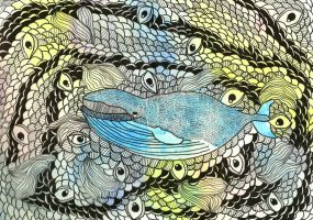 Psychedelic Whale by AnalieKate