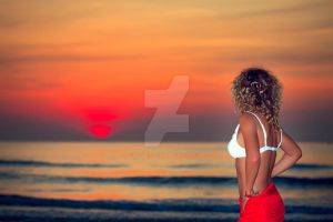 Woman at sunrise time by MotHaiBaPhoto