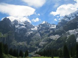 mountains next to oeschinensee, Switzerland by Marl1nde