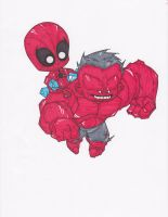 AVENGING SPIDER-MAN AND RED HULK by hclix