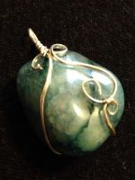 Wire-Wrapped Blue Cracked Quartz Pendant by FaerieForgeDesign
