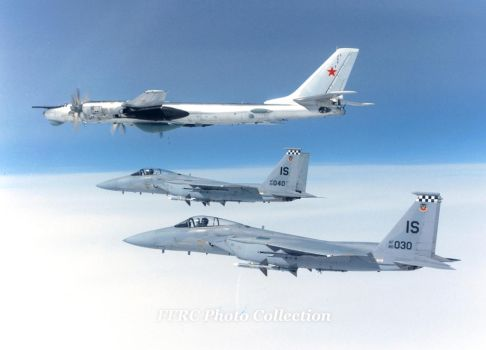 F-15C of the 57th FIS intercepts a Soviet Tu-95RT by fighterman35
