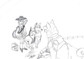 Kitara the wolfhound - Visits Balto - sketch by MortenEng21
