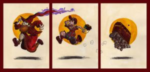 Rincewind Twoflower and the luggage frieze by Monkey-Fromthebridge