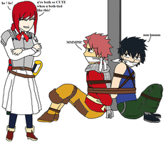 Young Natsu and Gray tied by young Erza by ernet888