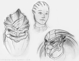 Mass Effect Sketch Portraits by DemonLuna