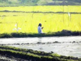 Prayer in the paddy field middle of work by rajjib