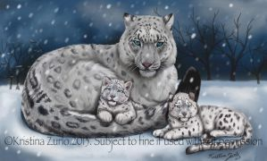 Snow Leopard family by NatsumeWolf