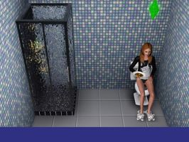 My sim eats on the toilet by PlasmaGelCookie