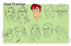 Head Drawings Page1 by EmpressFunk
