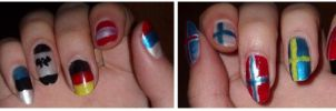 flags on nails by semla-chan