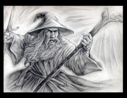 Gandalf 9 x 12 pencil drawing by RayDillon