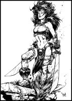 Keu Cha's Tyra pinup inks by tZuB