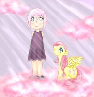 Crona and Fluttershy by akemiusagi