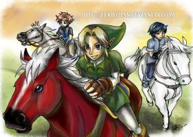 Horseback time, swordsmen :D by eERIechan