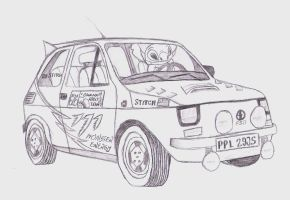 Stitch in Fiat 126p Monster Energy Edition by Wilku333