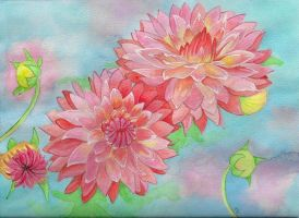 Dahlias in Watercolor by MeadowDelights
