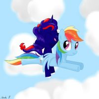 Starfire flying with Dash by FinnishGirl97