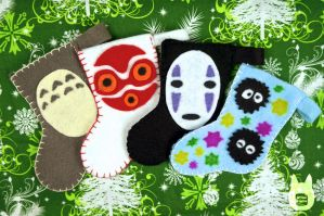 Studio Ghibli Mini Stocking Ornaments (Tutorial) by studioofmm