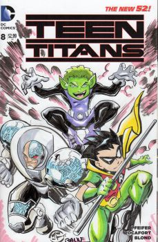 Teen Titans - Sketch Cover by josesartcave