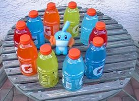 Mudkip sourranded by Gatorade by Utack101