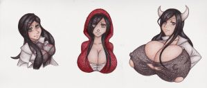 :Commission: Lessien Busts by AllyMoodyNeko