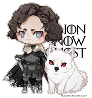 Jon Snow and Ghost by kitsuneha