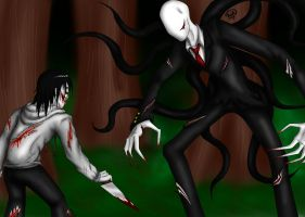 Jeff the killer Vs Slenderman by aqilesbailo