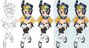 Gundam Heavyarms Custom girl - process by bryanz09