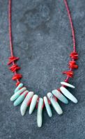 Red and Blue Amazonite and Coral Necklace by TwinflowerDesign