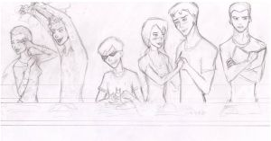 Sketch. Young Justice cooking by Mariya14