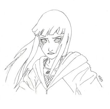 Lineart of Hinata Hyuuga by mettle5