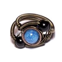 Steampunk Ring black and Blue by CatherinetteRings