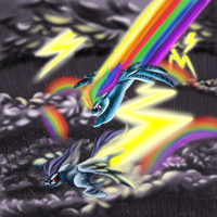 Rainbow Dash vs. Thunderclap by Wolfangkun