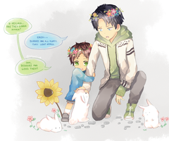 SnK EreRi - Bunnies by milemiru