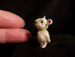 Miniature OOAK Sculpt Artist MOUSE, 1inch/2.5cm by TreasuredByU