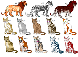 Mixed feline adopts by Wolfh15
