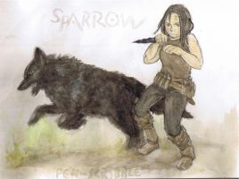 Sparrow - for lupine-lupus by Pen-scribble