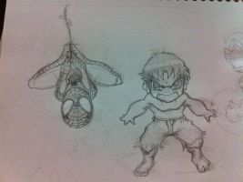 Chibi Hulk and Spidey by Tigueron