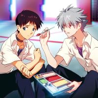 Kaworu x Shinji (in Nerv) by matsuki-ringo